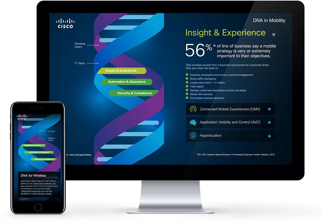 cisco website on desktop and mobile device