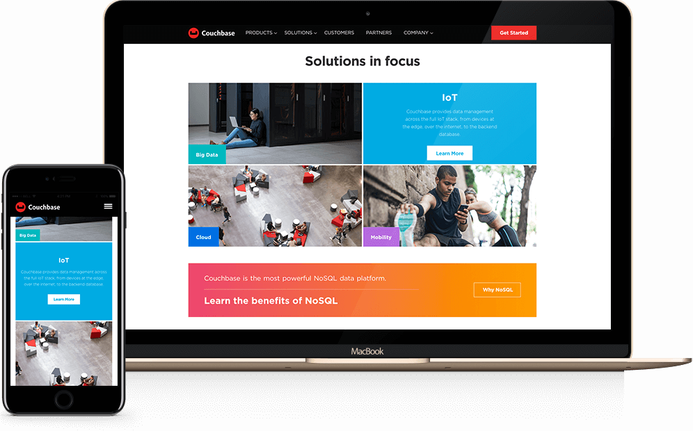 Couchbase website on laptop and mobile device