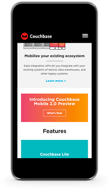 couchbase mobile homepage bottom
