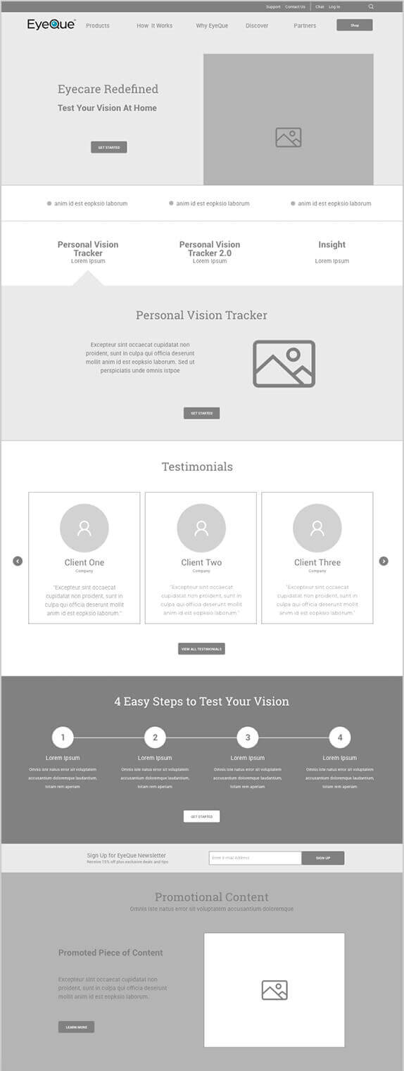 wireframe for eyeque homepage