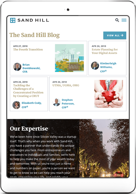 sandhill website on iPad