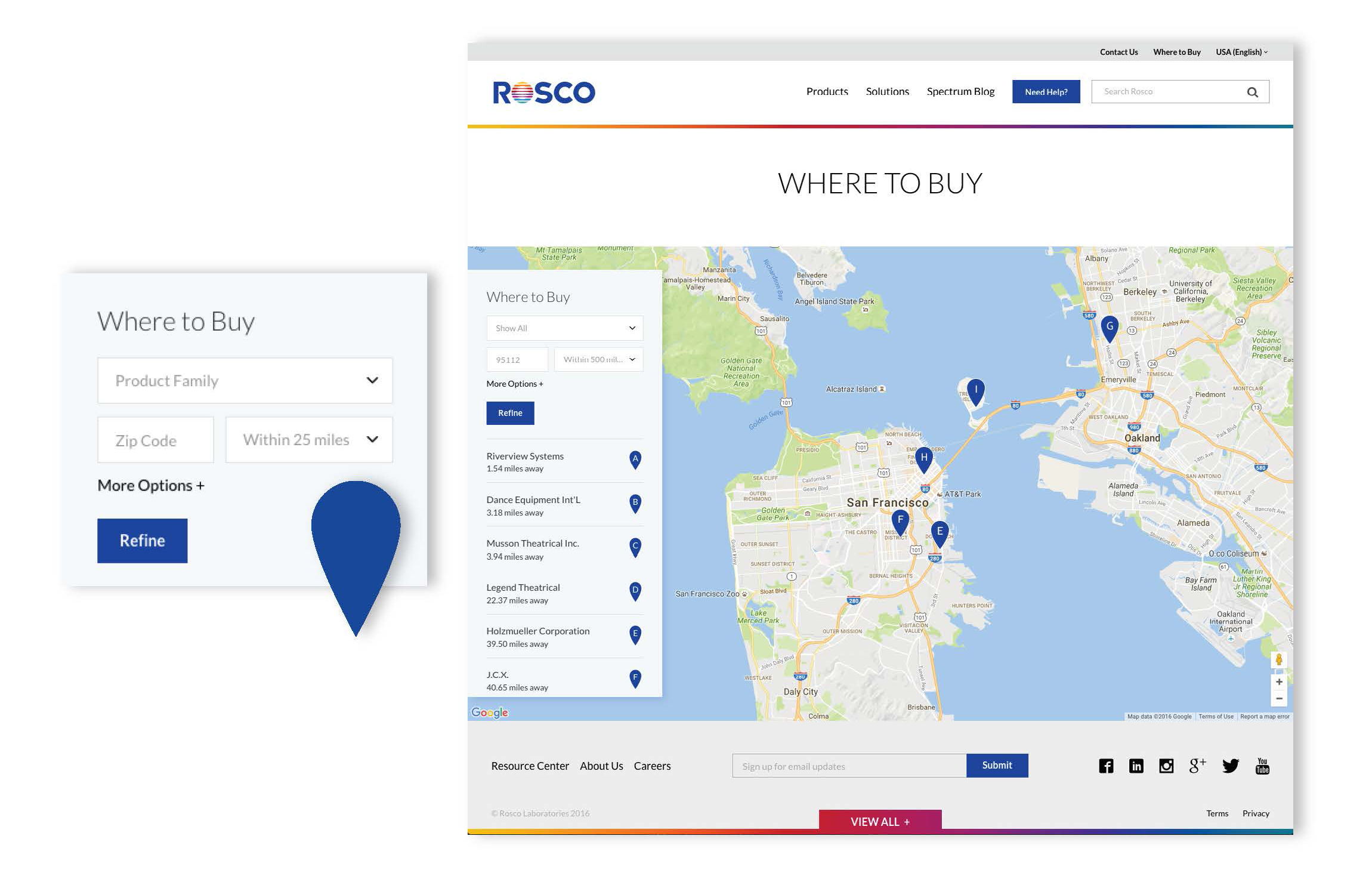 Rosco Website Redesign - Where to Buy