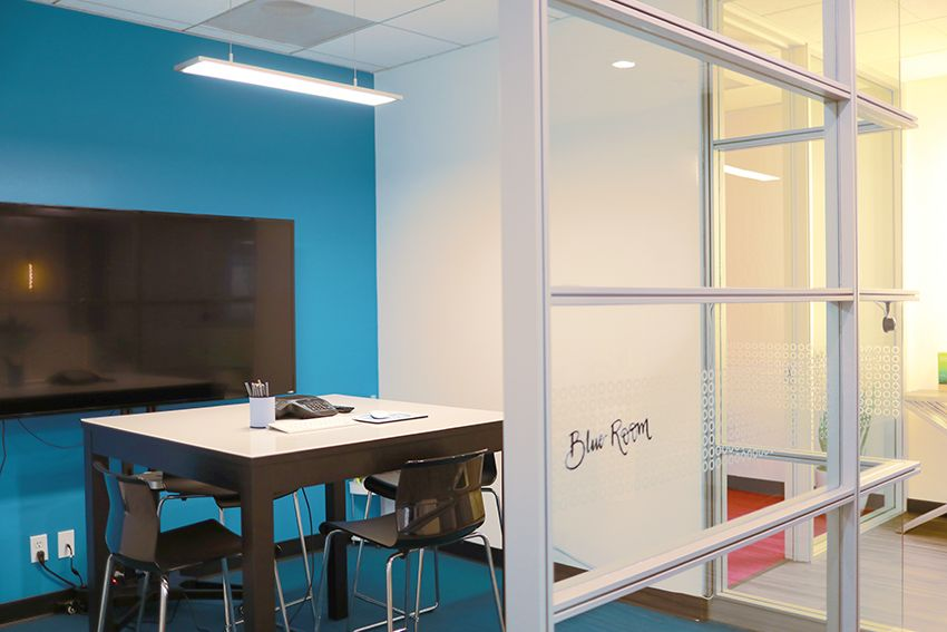 blue conference room open workspace