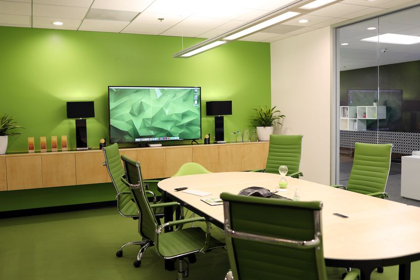 green conference room large television