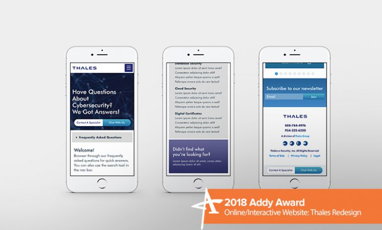 2018 addy award online/interactive website thales redesign