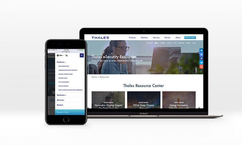 thales redesign on laptop and mobile phone