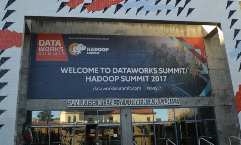 dataworks summit hadoop summit 2017 large banner at san jose mcenery convention center
