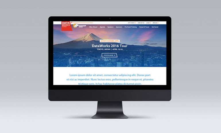 dataworks 2016 tour website on desktop computer