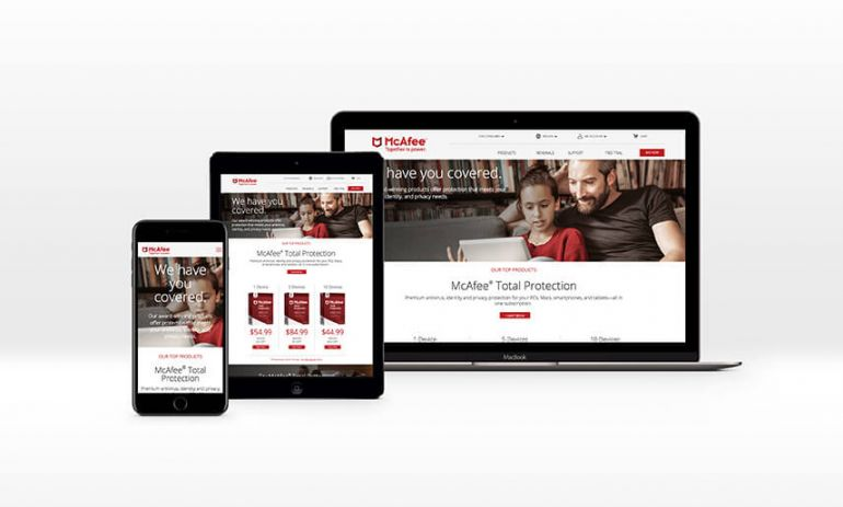 mcafee consumer website on mobile phone tablet and laptop computer