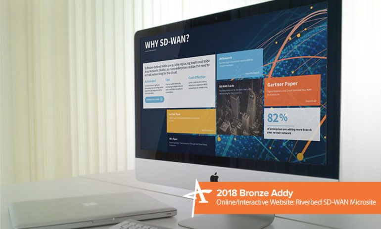 2018 bronze addy online/interactive website: riverbed sd-wan microsite