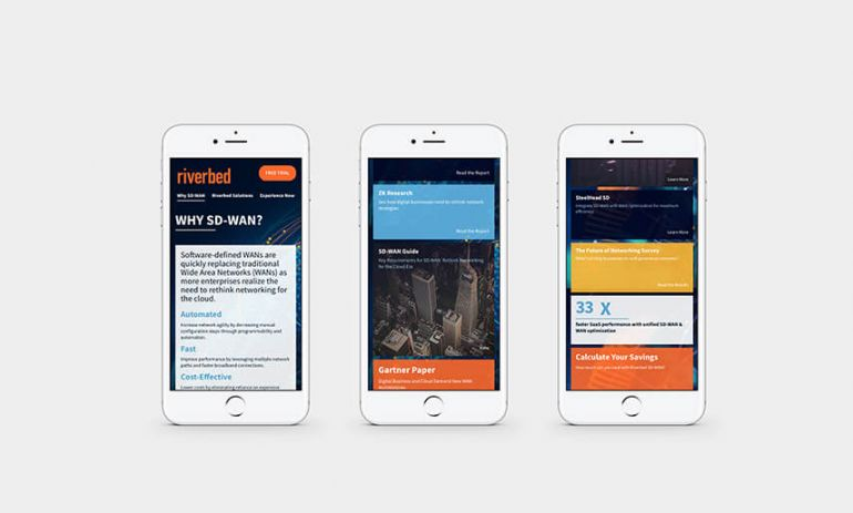 riverbed sd-wan microsite on mobile phones