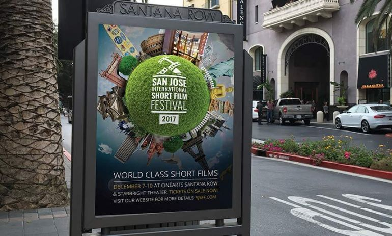 san jose short film festival 2017 large banners in santana row