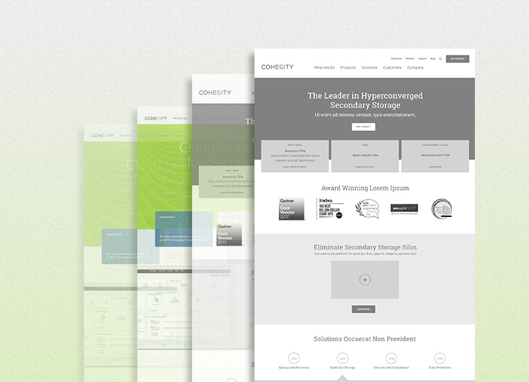 Cohesity website redesign from wireframes to full page