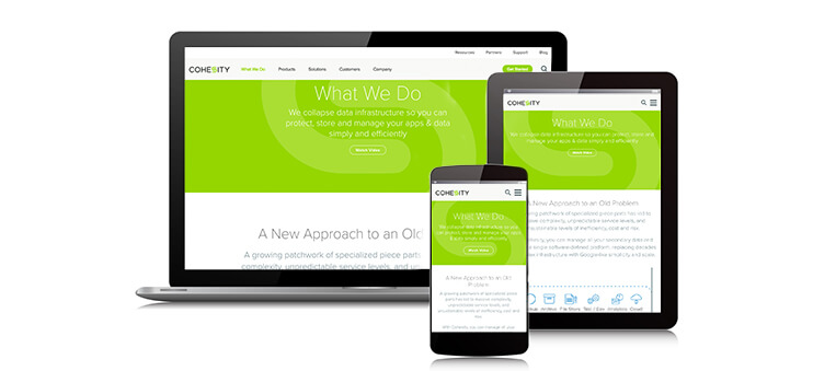 Cohesity website redesign on laptop tablet and mobile phone