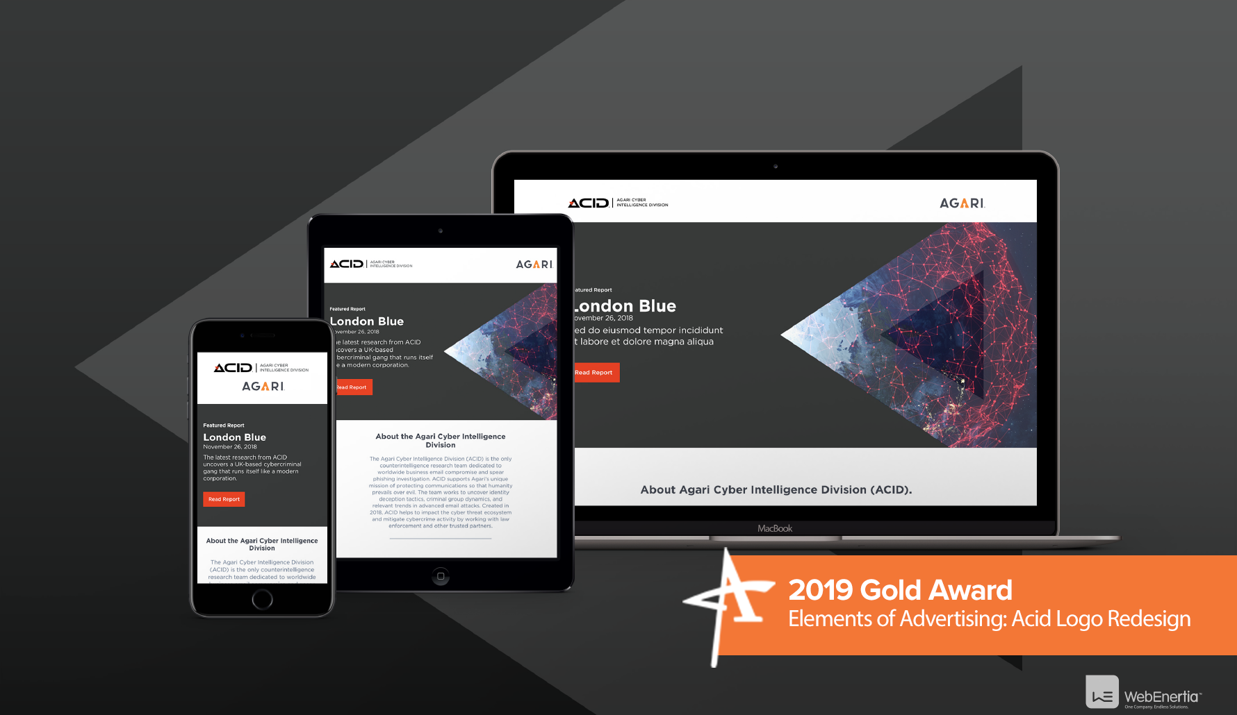 2019 Gold Addy Award - Elements of Advertising: Acid Logo Redesign