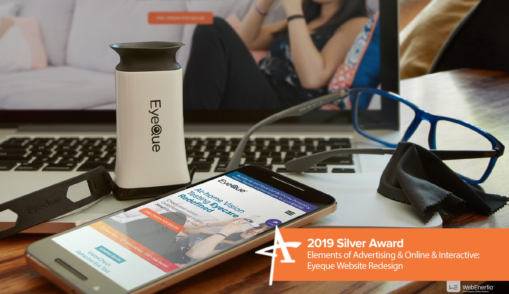 2019 Silver Addy Award - Elements of Advertising & Online & Interactive: Eyeque Website Redesign