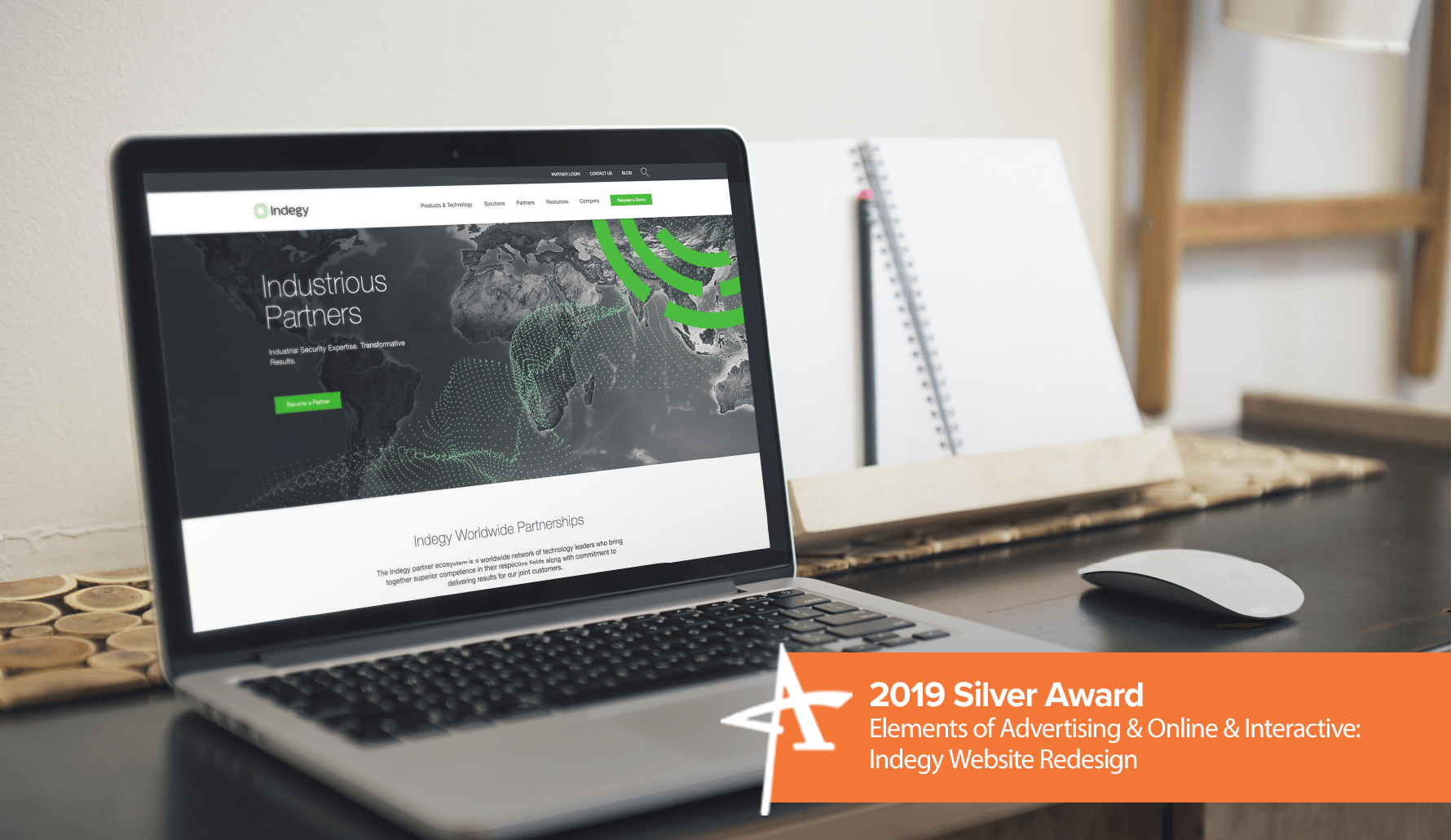 2019 Silver Addy Award - Elements of Advertising & Online & Interactive: Indegy Website Redesign