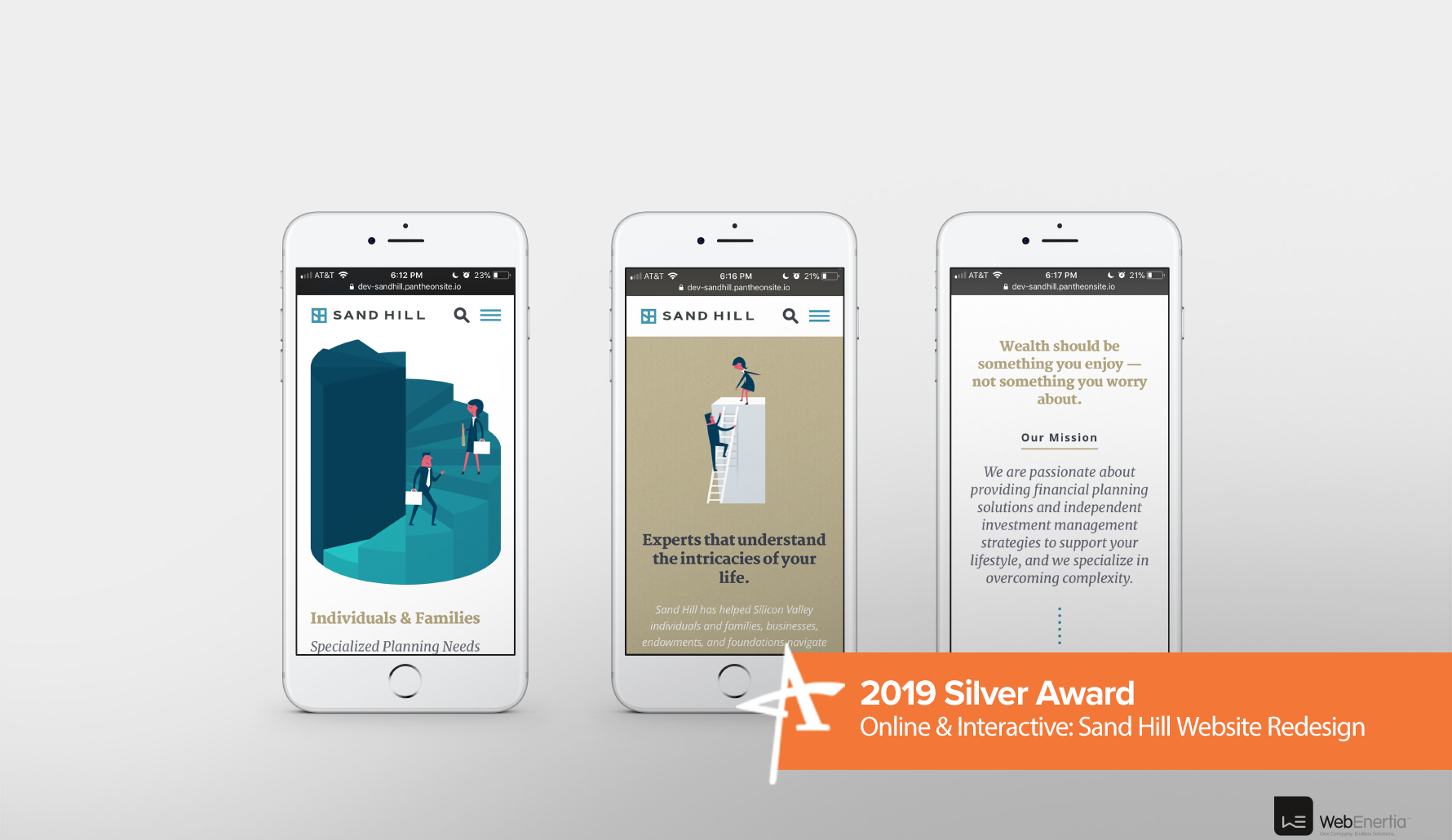 2019 Silver Addy Award - Online & Interactive: Sand Hill Website Redesign