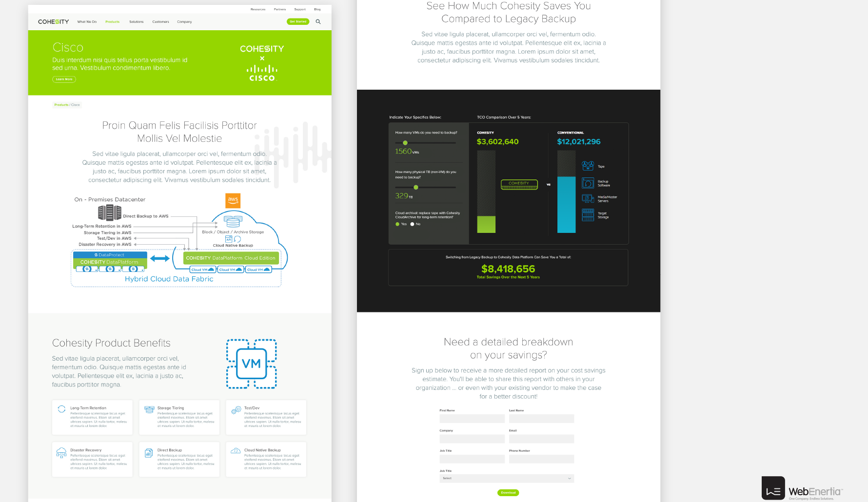 Cohesity Website Redesign multiple full page layouts
