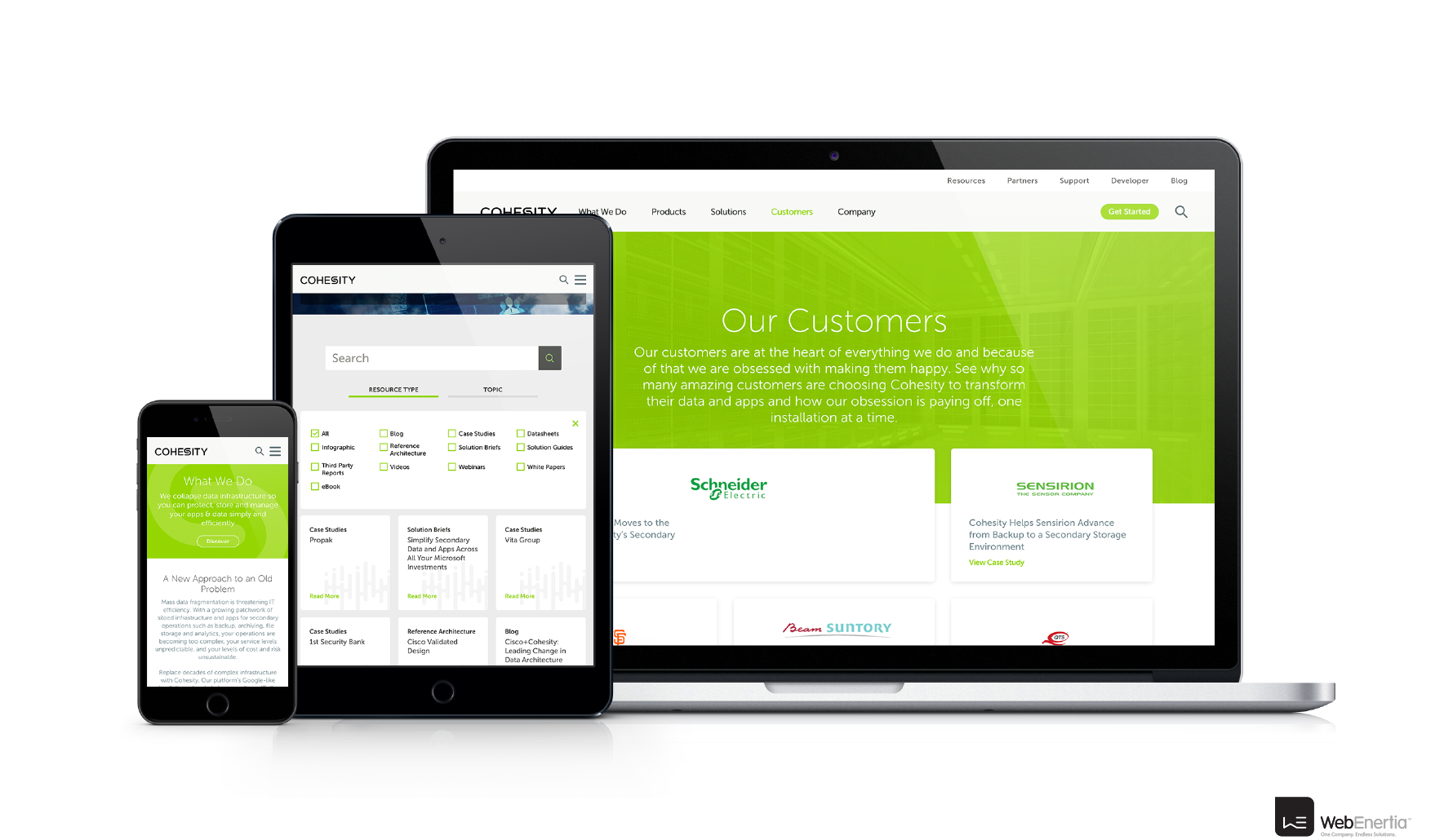Cohesity Website Redesign on laptop iPad tablet and iPhone mobile
