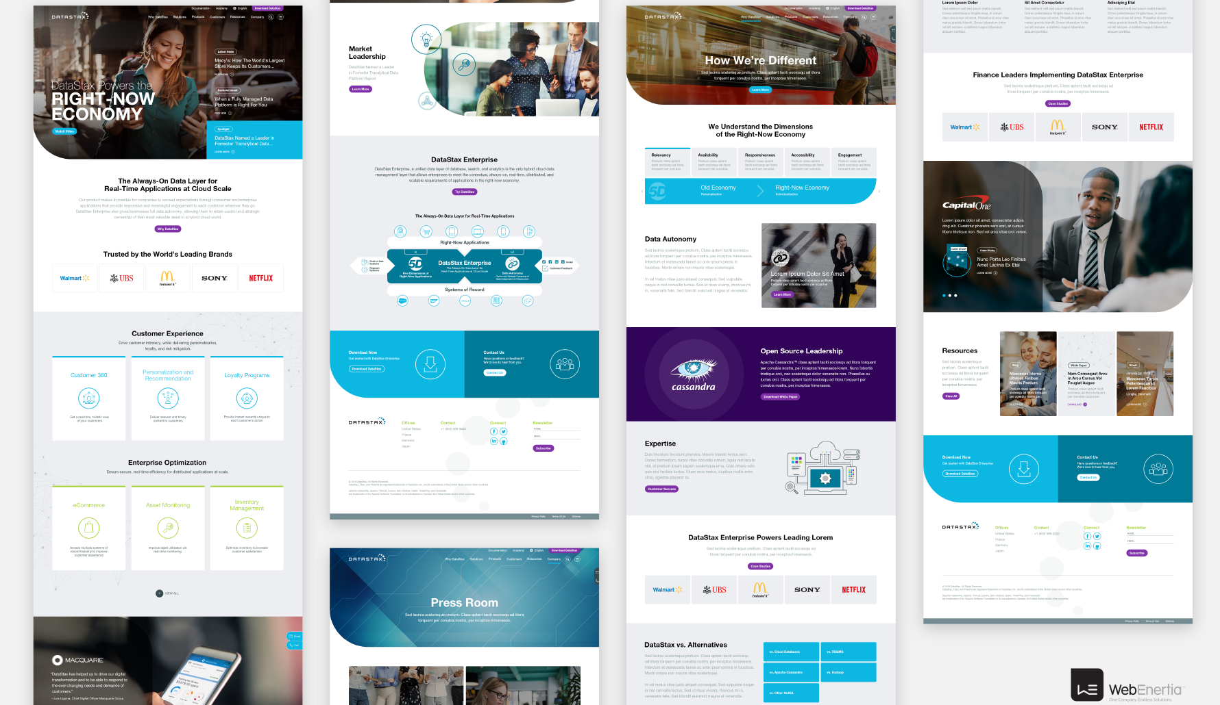 DataStax Website Redesign multiple full page layouts