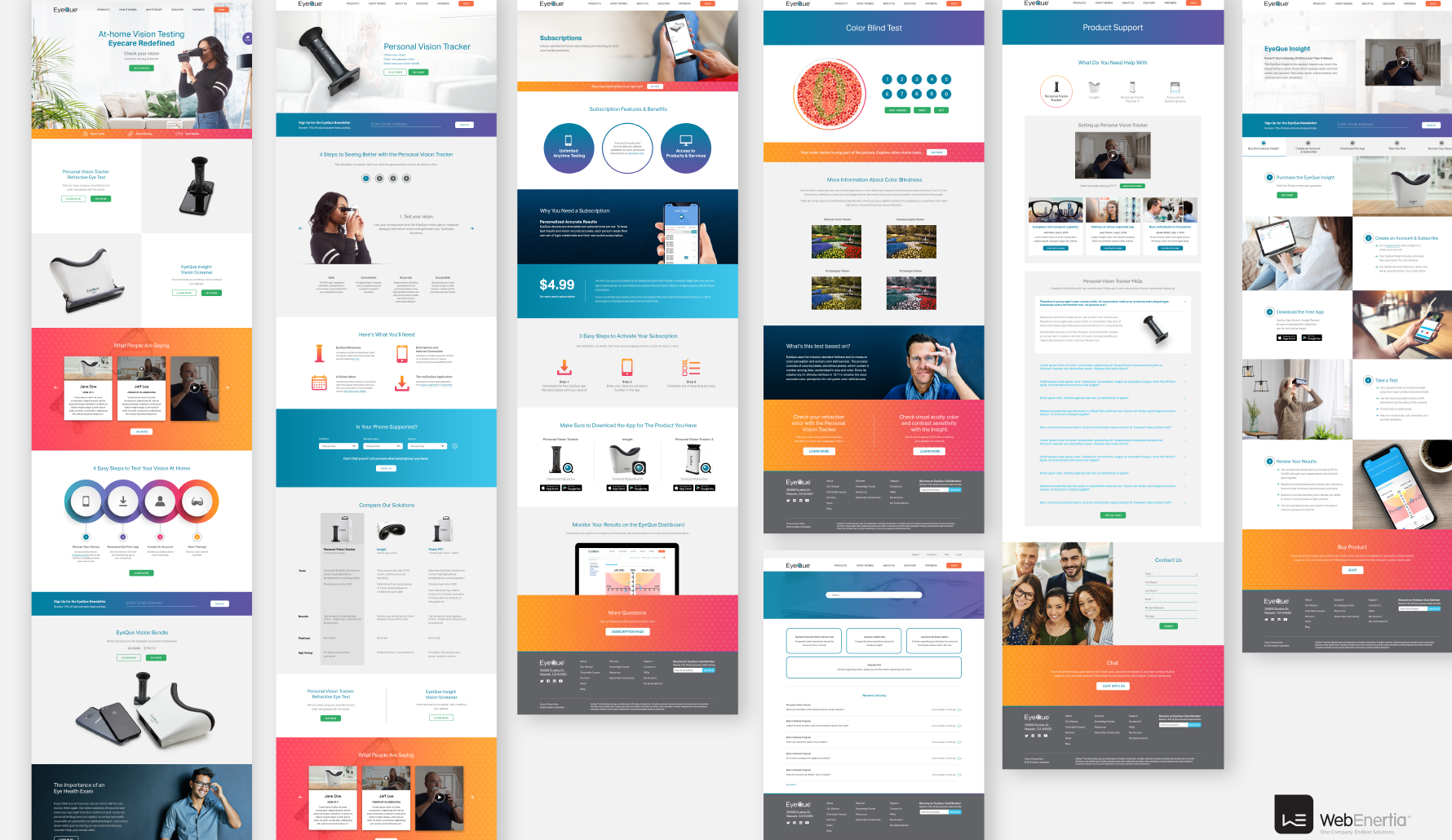 Eyeque Website Redesign multiple full page layouts