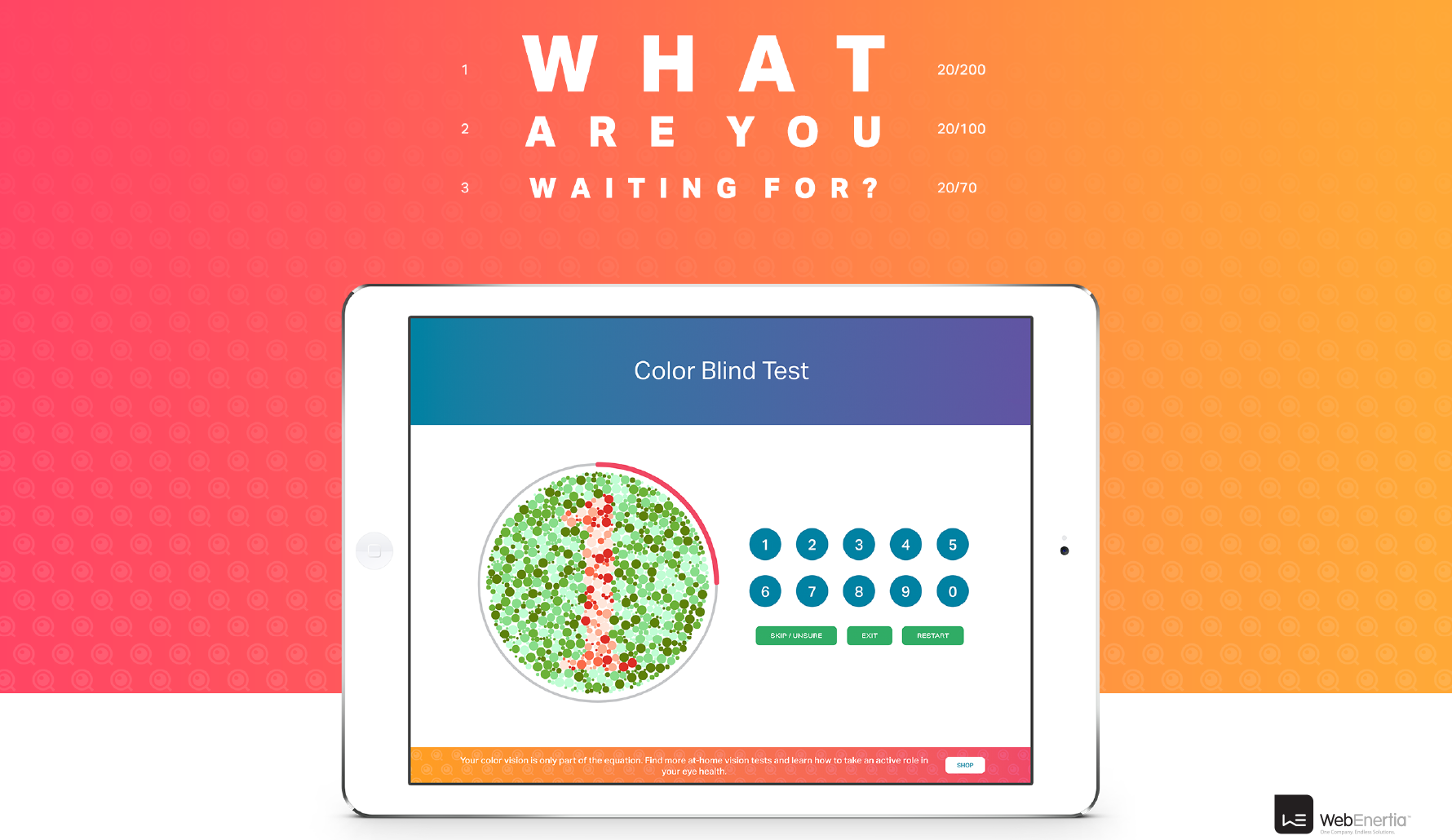Eyeque Website Redesign color blind test on iPad