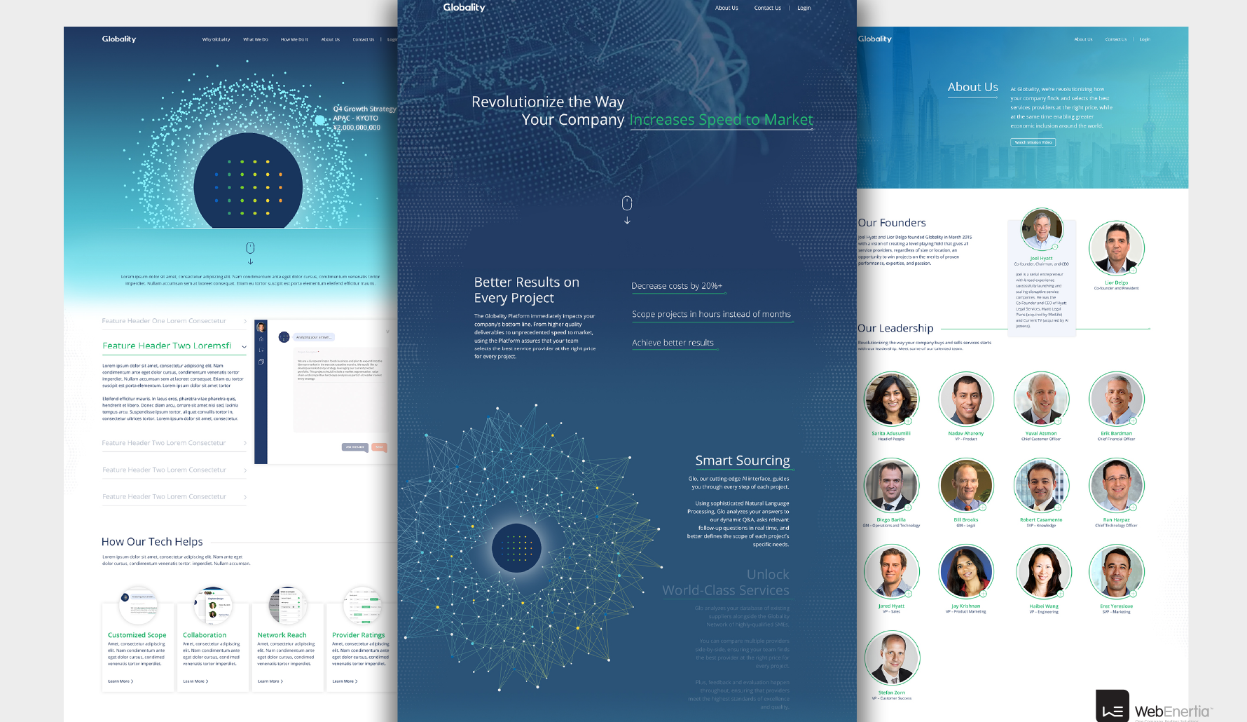 Globality Website Redesign three page layouts