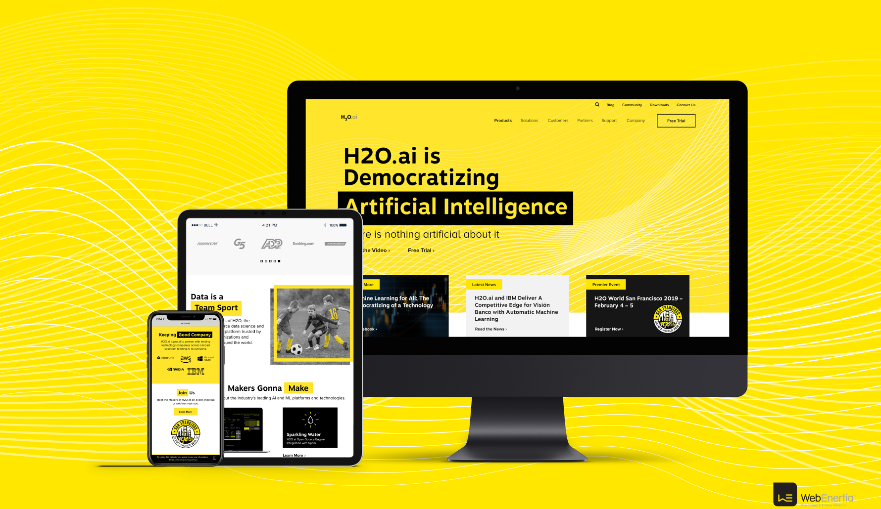 H2O.ai Brand Update & Guidelines new homepage responsive iMac iPad and iPhone