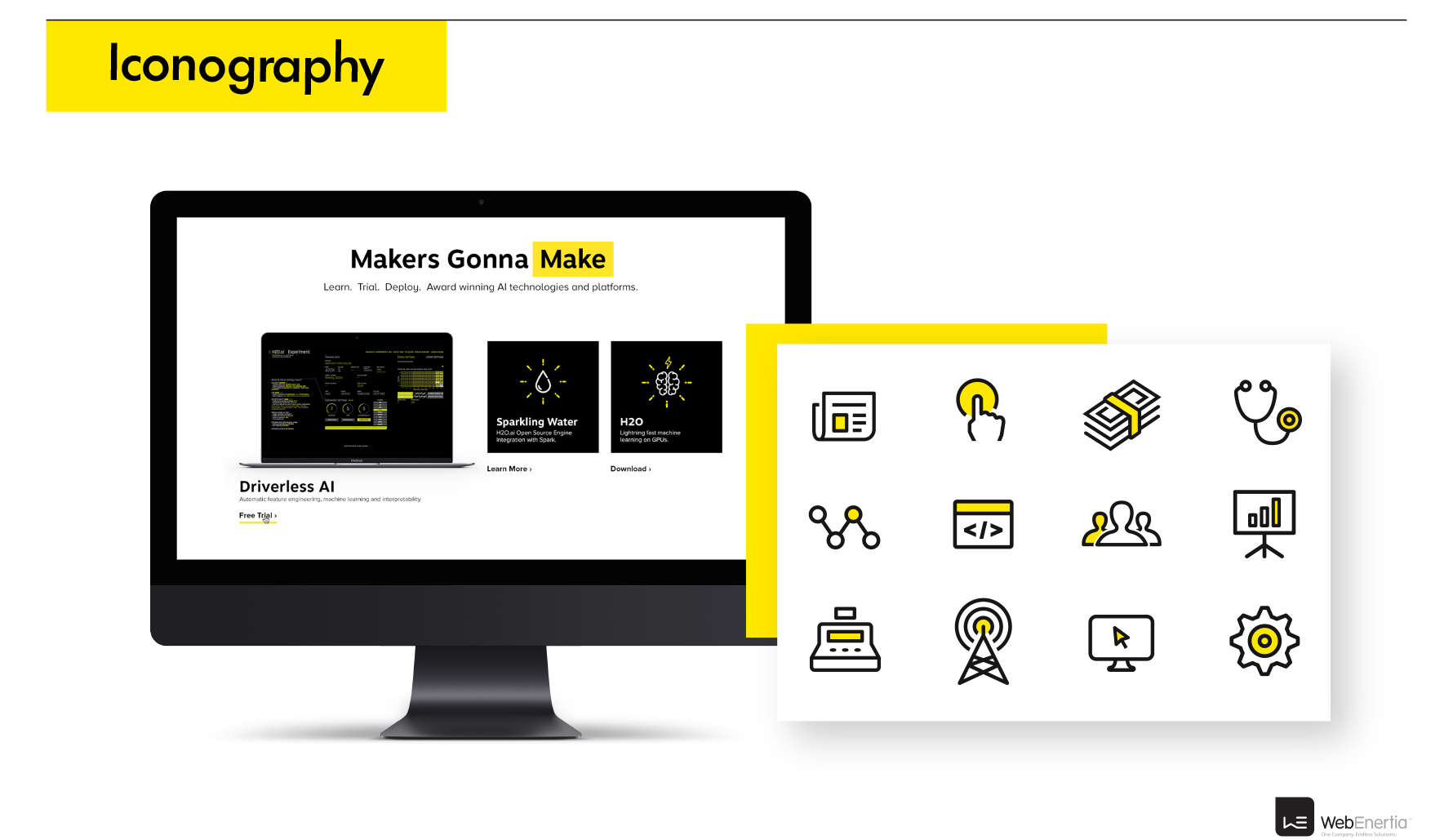 H2O.ai Brand Update & Guidelines iconography black and white with yellow accents