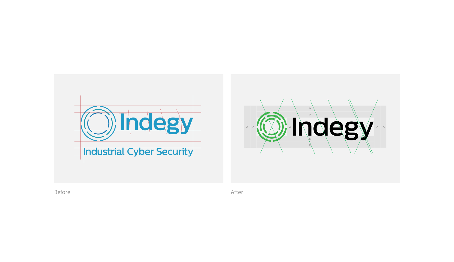 Indegy Brand Update & Guidelines side-by-side comparison of before and after old logo vs new logo