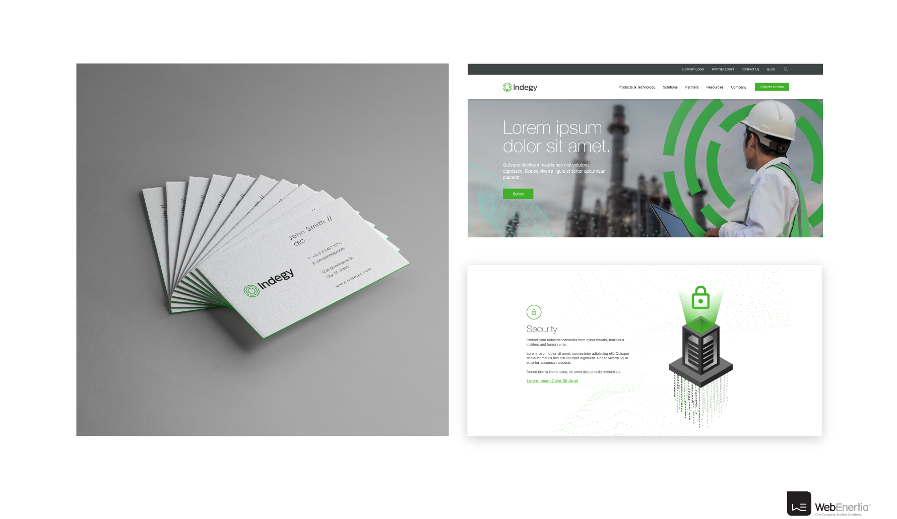 Indegy Brand Update & Guidelines business cards and website mockup