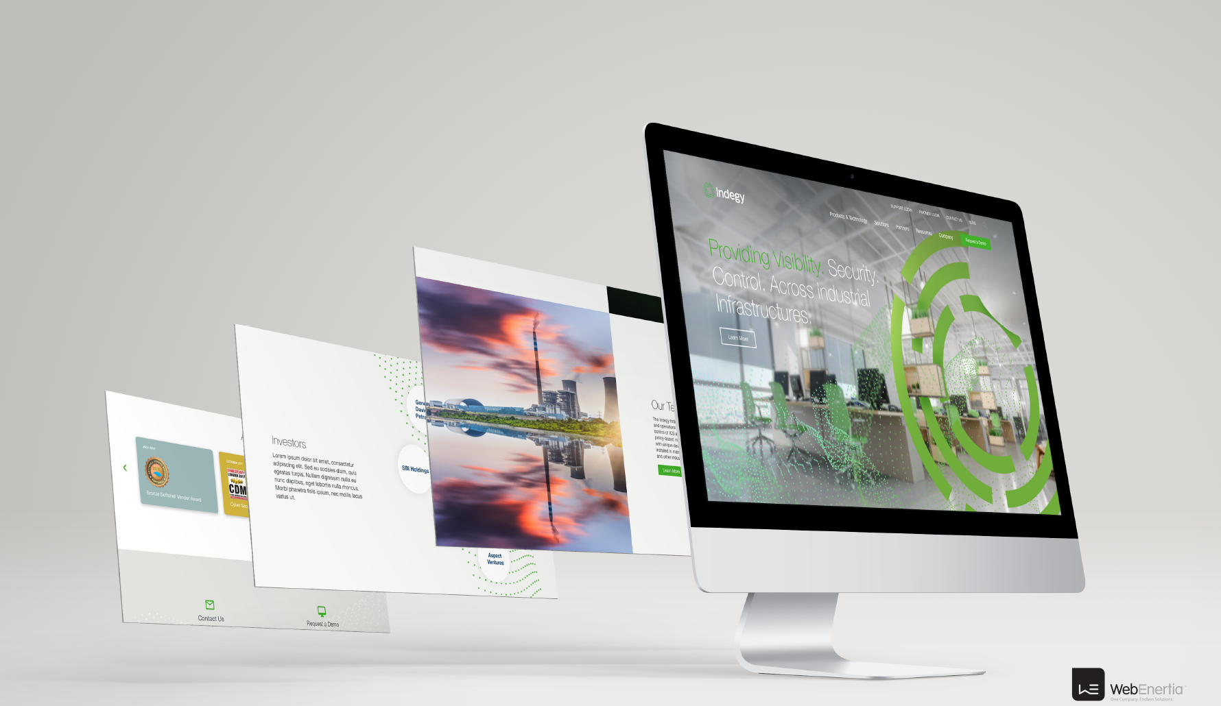 Indegy Website Redesign iMac multiple layers of full screen view of website
