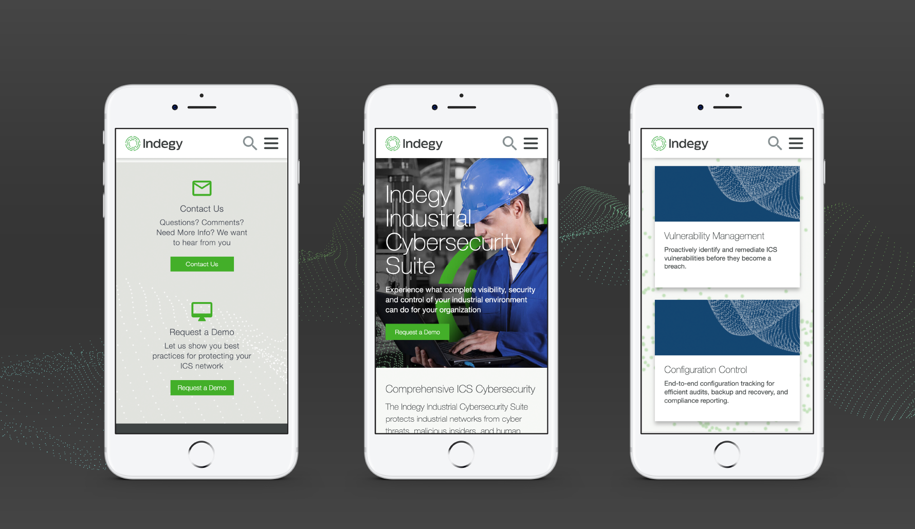 Indegy Website Redesign multiple views of pages on mobile iPhone responsive