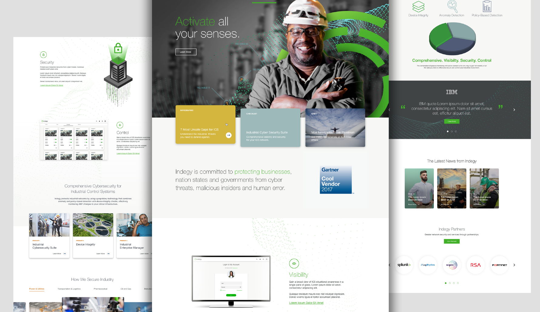 Indegy Website Redesign multiple full page layouts