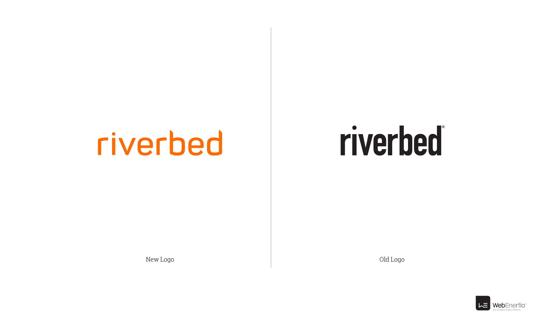 Riverbed Logo Redesign side-by-side comparison of new logo vs old logo