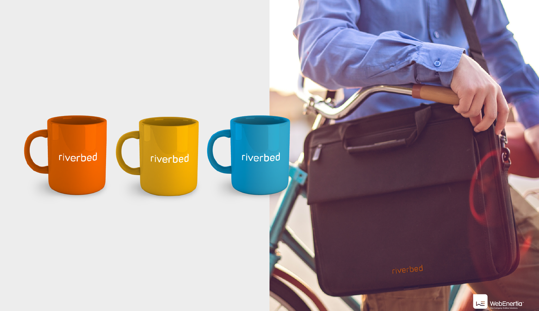 Riverbed Logo Redesign coffee mugs and laptop bag