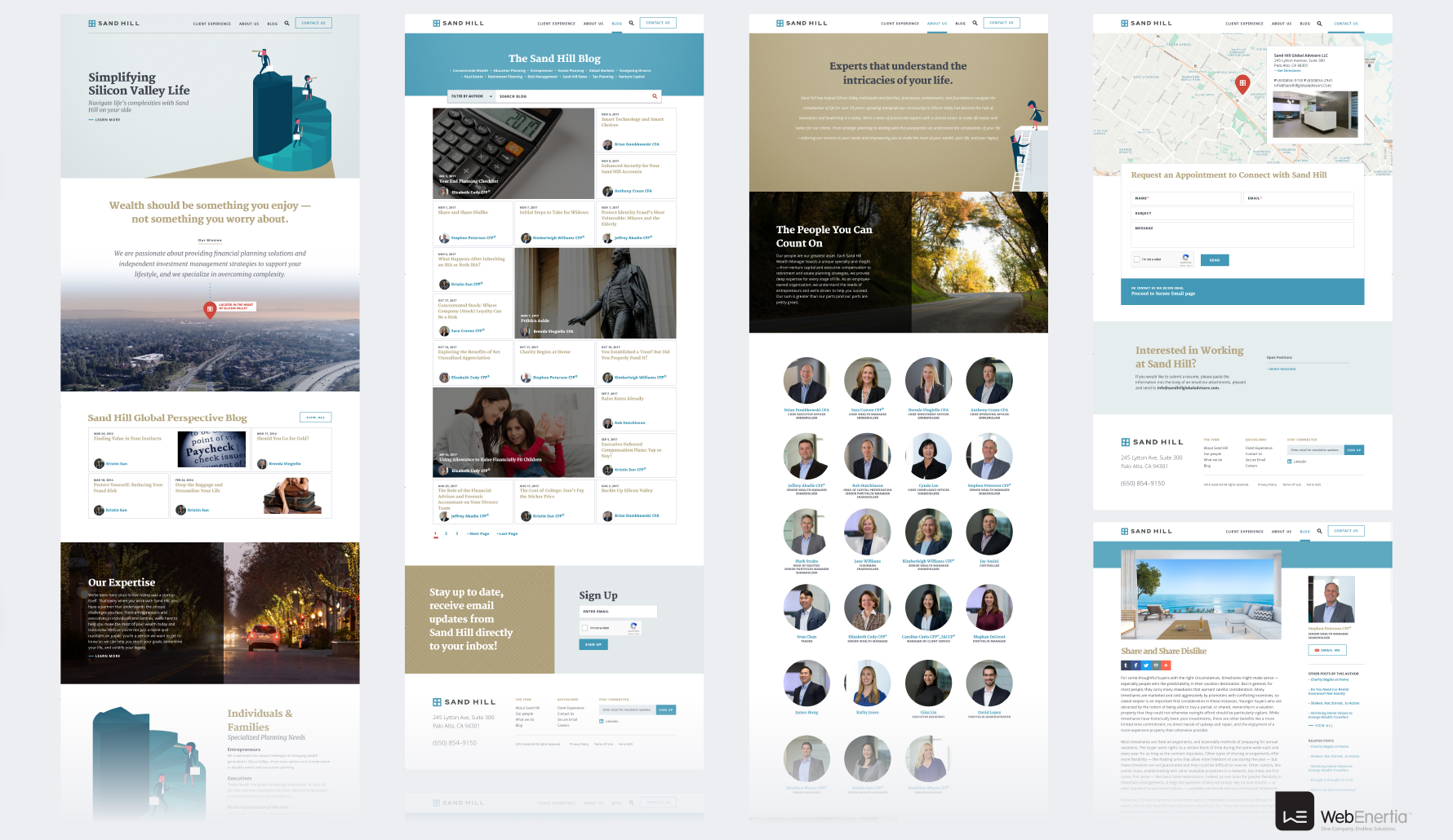 Sand Hill Website Redesign multiple full page layouts